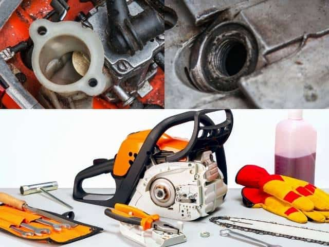 Troubleshooting steps when a chainsaw won't run without starter fluid.